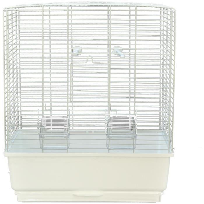 VADIGRAN Cage Katia - 40x27x48 cm - Blanc et moka - Pour oiseau