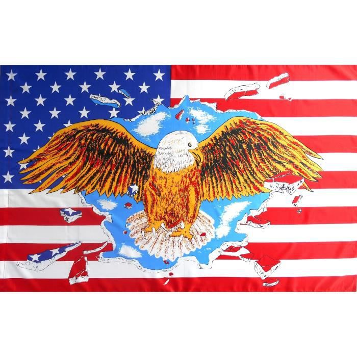 DRAPEAU ETATS UNIS USA 150 X 90 cm Aigle Américain Confédéré Sudiste Rebel Biker Motard Country...
