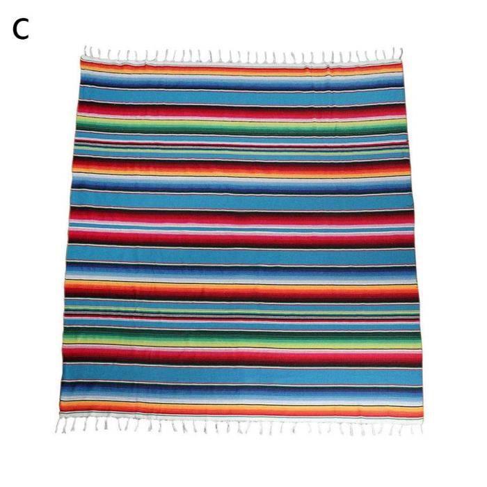 Style Mexicain Pompon Nappe Couverture fête de Mariage décoration Motif Arc en Ciel Coton Couleur Bande châl