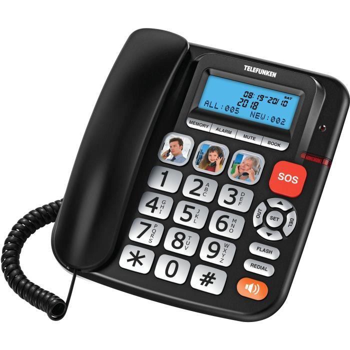 TELEFUNKEN TF 801 COSI - Téléphone senior filaire - Clavier extra-large - Compatible aides auditives - 3 touches favoris + 1 urgence