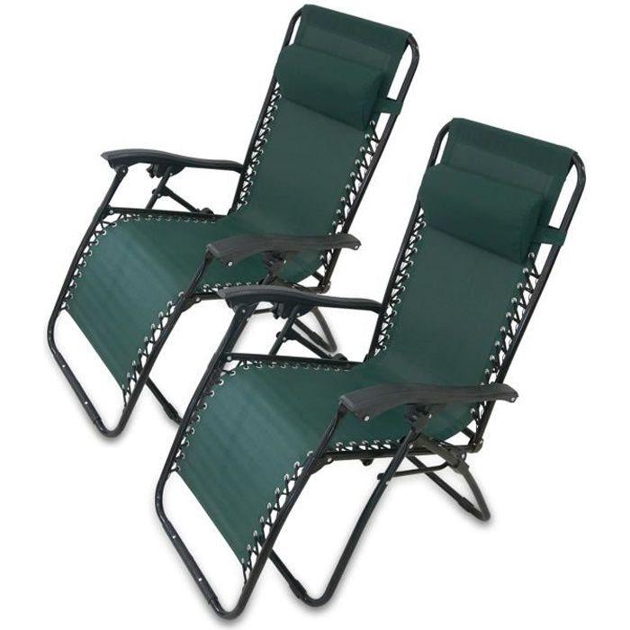 Chaise Longue Inclinable, Transat de Jardin, 165 x 112 x 65 cm, Vert, Avec coussin, Textilène, Pack de 2, Charge maximale: 100 kg