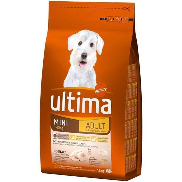 Ultima Croquettes Chiens Adult Mini 1-10 Kg Poulet Riz Format 1,5Kg (lot de 3)