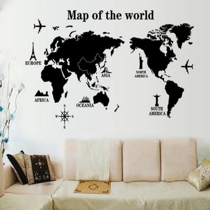 diy carte du monde sticker mural en vinyle d coration de. Black Bedroom Furniture Sets. Home Design Ideas