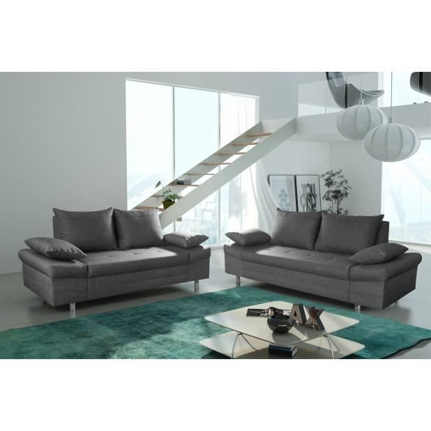 Canap bacau 3 2 places anthracite canap sofa divan for Taille canape 2 places