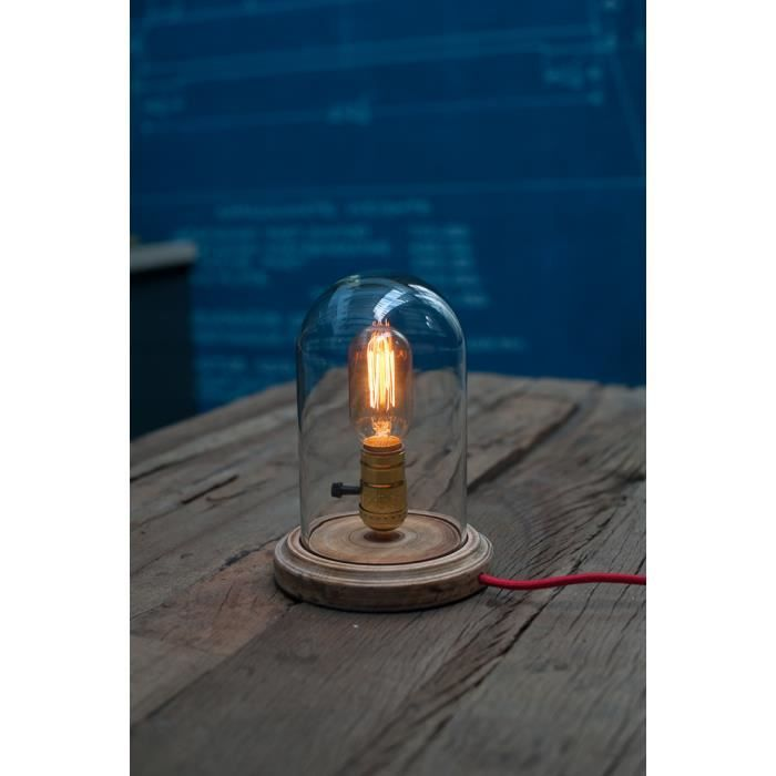 lampe poser globe verre style vintage industriel pour ampoule a filament edison achat. Black Bedroom Furniture Sets. Home Design Ideas