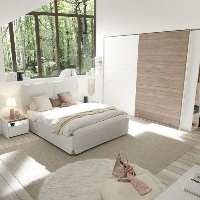 Chambre moderne blanche et couleur bois clair DEBORAH lit 160 cm Blanc L  190 x P 220 x H 125 cm