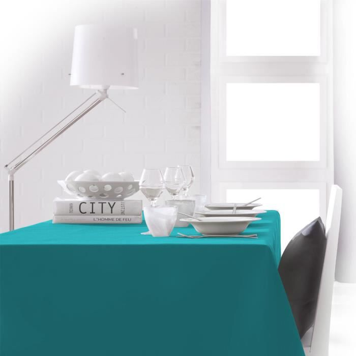 nappe unie turquoise mer du sud 2m x 1m40 anti tache sans repassage achat vente nappe de. Black Bedroom Furniture Sets. Home Design Ideas