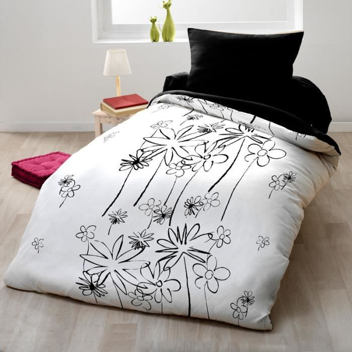 couette microfibre 140x200 cm black white achat vente couette cdiscount. Black Bedroom Furniture Sets. Home Design Ideas