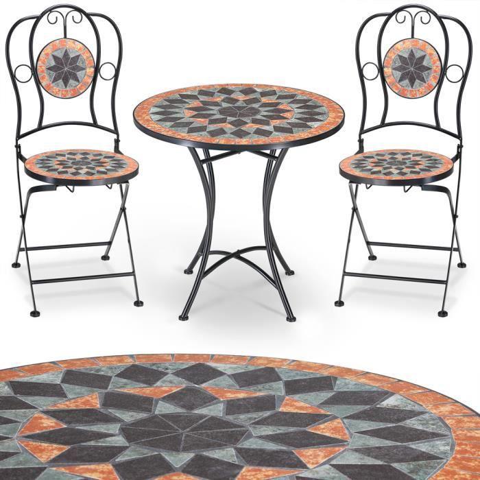 Salon jardin mosaique Terracotta 1 table 2 chaises - Achat ...