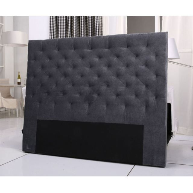 tete de lit capitonnee king 140 160cm velours gris achat. Black Bedroom Furniture Sets. Home Design Ideas