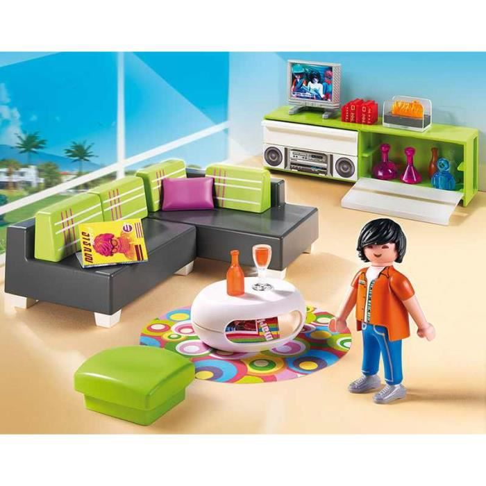Playmobil 5584 salon moderne achat vente pi ce monde for Salle a manger playmobil city life