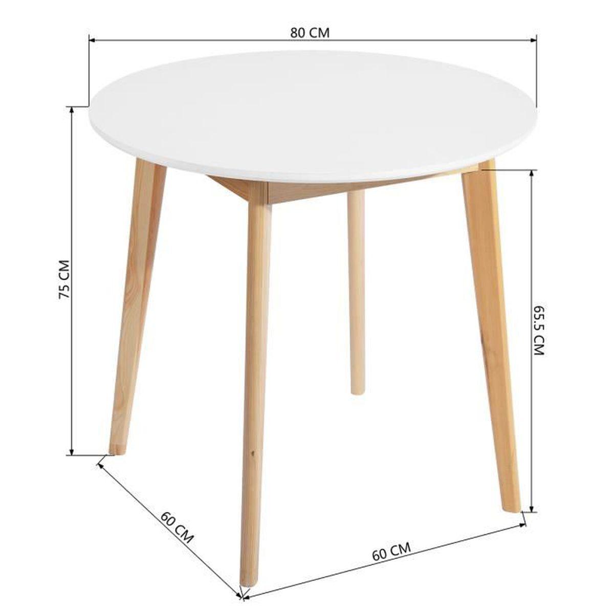 Yata Home Retro Table Blanche Salle a Manger Table /à Manger Ronde Table Basse de 2 /à 4 Personnes Scandinave Blanco et Pieds en Bois H/être 80x80x75cm