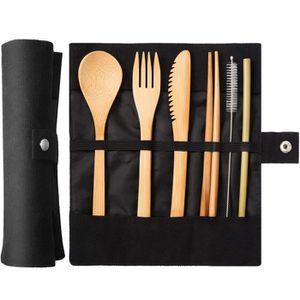 PANIER PIQUE-NIQUE Vaisselle réutilisable bambou pique-nique Ustensil