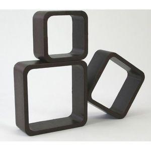 CASIER POUR MEUBLE Lot de 3 étagères cubes murale rangement marron ET