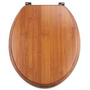 MSV Abattant de WC en Bambou avec charni/ères en Acier Inoxydable