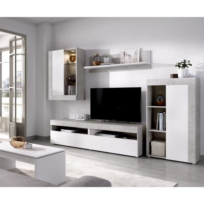 Ensemble Meuble TV Blanc et Béton - L 265 x P 42 x H 180 cm - TOKIO