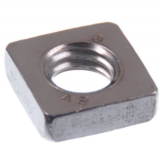 SECCARO écrou carré M6 en acier inoxydable V2A VA A2, DIN 562, profil bas, 20 pièces