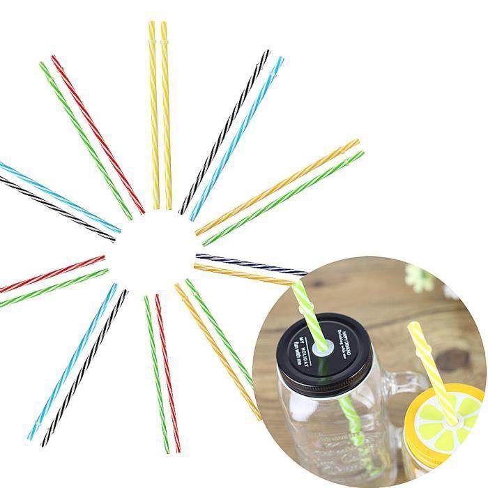 Paille à boire en plastique dur réutilisable colorée 20PC propre séparée QYY70724671B_291