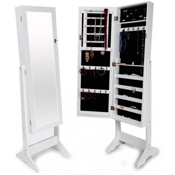 Armoires placard à bijoux bois blanche miroir chambre dressing 1408002