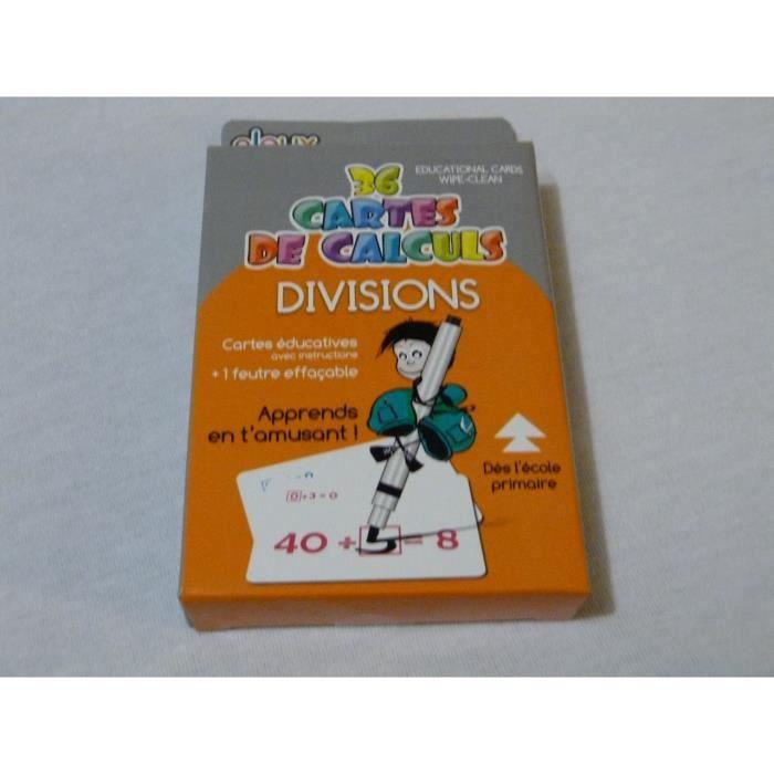 JEU DE CARTES EDUCATIVES DE CALCULS - DIVISION