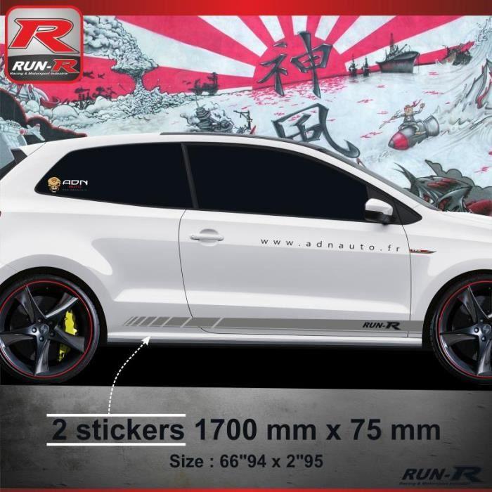 009A Sticker bas de caisse RACING pour VOLKSWAGEN POLO 6R - Aufkleber adesivi - Argent