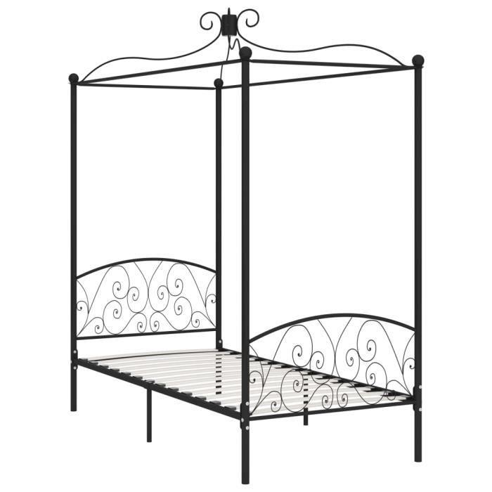 Jardin - Lit adulte à baldaquin - Lit enfant Lit pour 1 personnes Structure de lit Classique Noir Métal 100 x 200 cm Ancien 97946