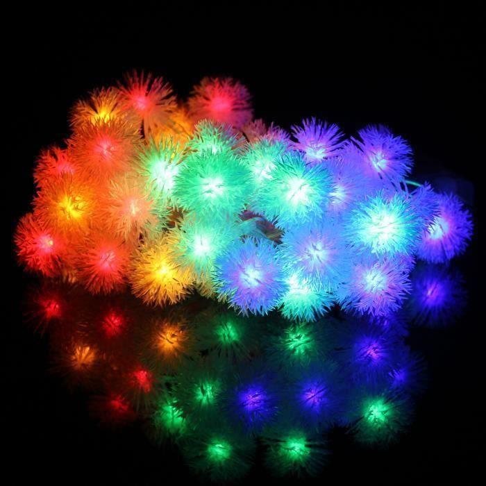 JIE Guirlande Lumineuse Intérieur 4M 40 LED à Piles Décoration Neige Boule Rouge Multicolore