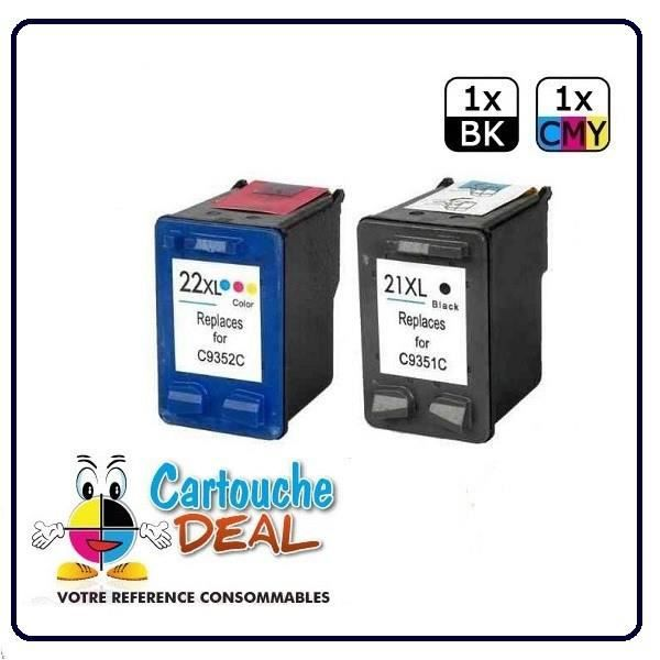 HP 21XL - HP 22XL - HP Deskjet F2275 F2276 F2278 F2280 F2288 F2290 F2291 F388 F390 F394 Lot 2 cartouches compatible HP21 HP22 XL