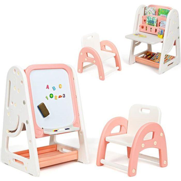 COSTWAY 2en1 Tableau Enfant Magnétique Double Face avec Tabouret,Bureau Pliable,Etagère de Livres Accessoires Hauteur Réglable HDPE