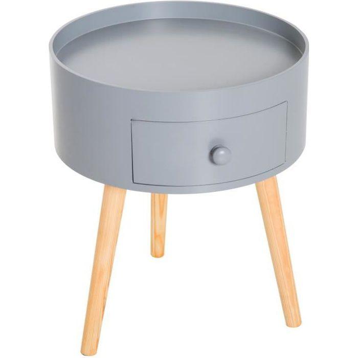Chevet table de nuit ronde design scandinave tiroir bicolore pieds effilés inclinés bois massif chêne clair gris