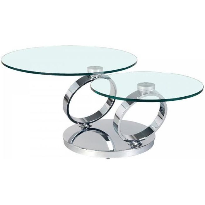 Table RING Ã plateaux pivotants en verre et acier chromé transparent Verre Inside75