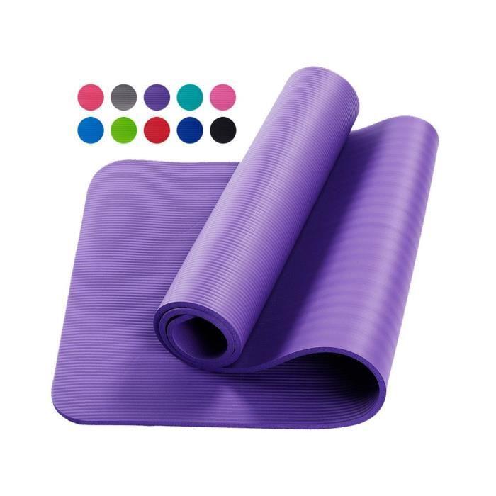 Tapis d'exercice Fitness Tapis de Yoga 183 x 60 x 1,5 cm en Mousse NBR violet