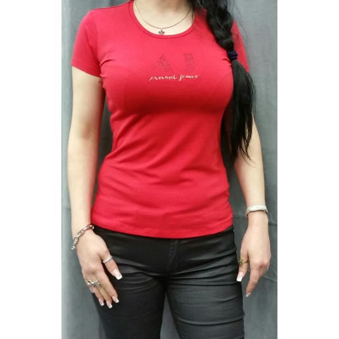 Tee Shirt Armani Jeans Femme Manches Courtes Rouge