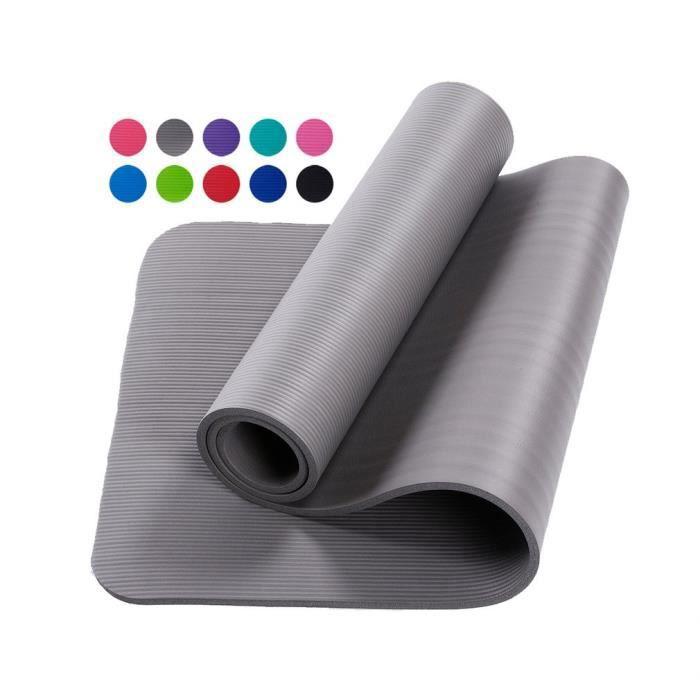 Tapis d'exercice Fitness Tapis de Yoga 183 x 60 x 1,5 cm en Mousse NBR gris