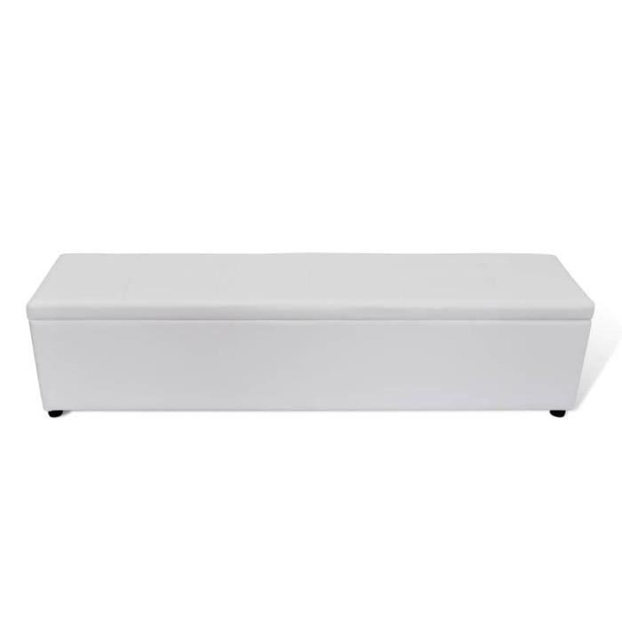 Banc banquette coffre de rangement blanc 178 x 44 x 44 cm taille large