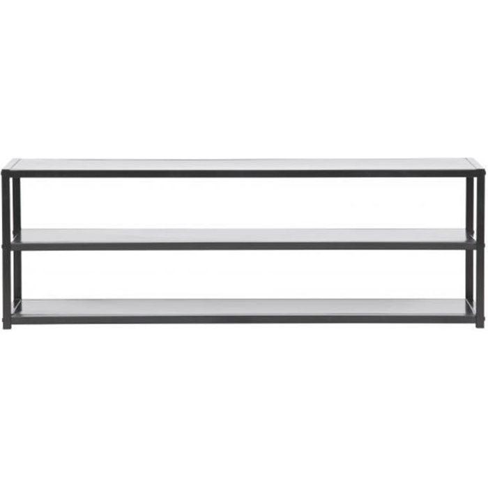 Meuble TV coloris noir en metal - Dim: 40 x 120 x 35 cm