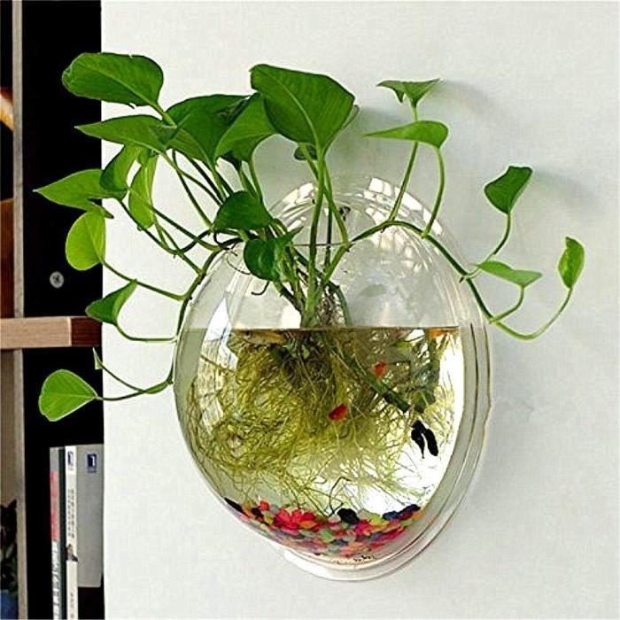 Transparent Pots de Fleur en Acrylique Créatif Pots à Suspendre Multifonctions Aquarium pour Plantes Fleurs Poi