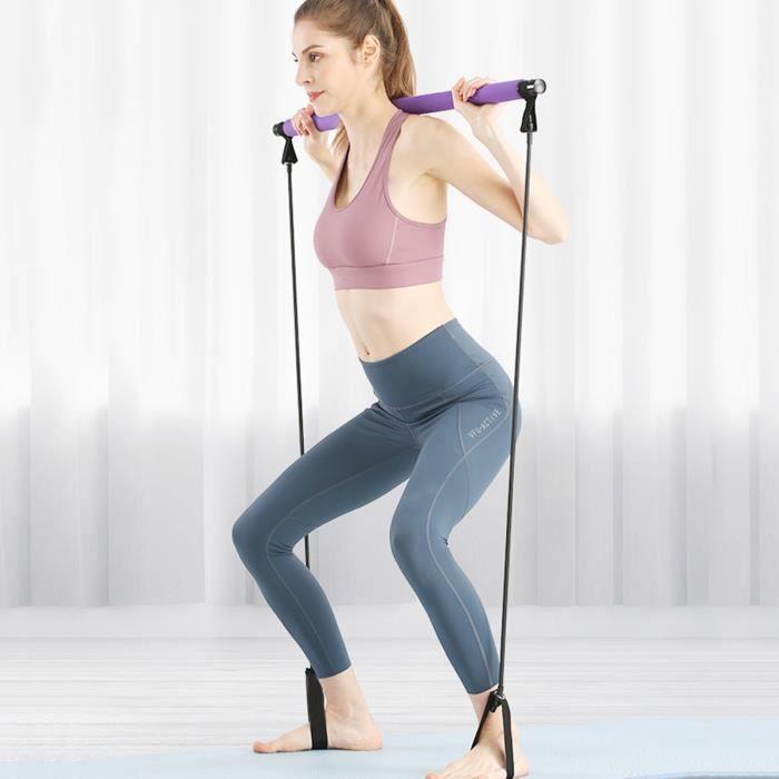 TEMPSA Barre de Pilates Portable avec Bande de Résistance Yoga Exercice Pour Musculation