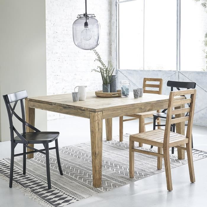 table carr e en teck recycle 140cm achat vente table a manger seule table carr e en teck. Black Bedroom Furniture Sets. Home Design Ideas