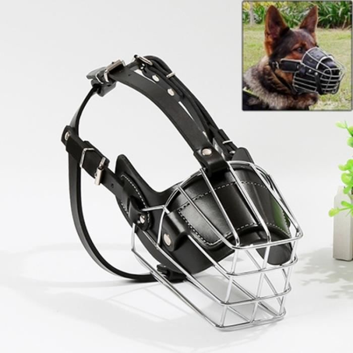 (#92) Steel Cage Style Dog Basket Wire Muzzle Protective Snout Cover With Leather Strap, Size: L