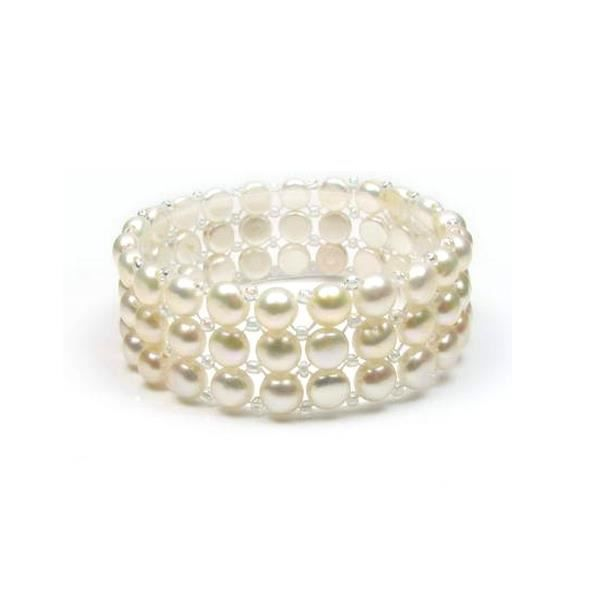 Bracelet Stretch 3 rangs Perles blanches F