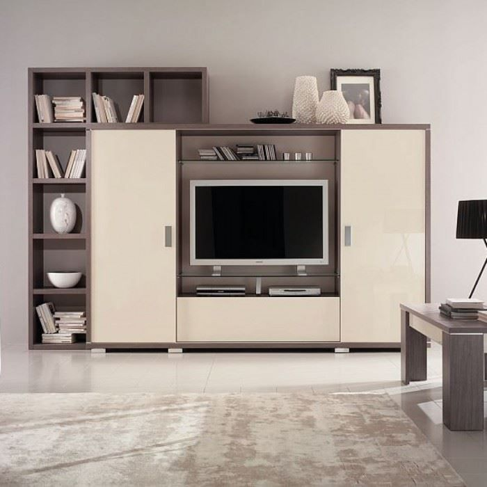 Meuble mural tv design glam achat vente meuble tv for Living meuble tv