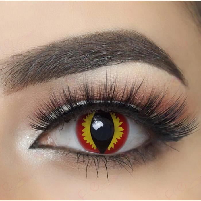 lentilles de contact de couleur fantaisie crazy lens cosplay oeil dragon rouge orange devil. Black Bedroom Furniture Sets. Home Design Ideas