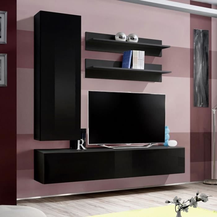 paris prix meuble tv mural design fly i 170cm noir achat vente meuble tv paris prix. Black Bedroom Furniture Sets. Home Design Ideas