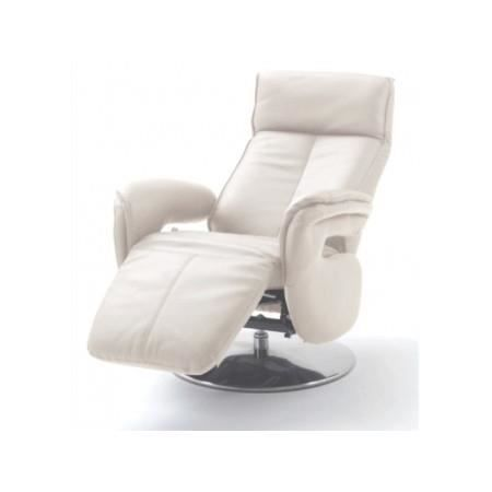 fauteuil de relaxation cuir blanc deluxe achat vente fauteuil blanc cdiscount. Black Bedroom Furniture Sets. Home Design Ideas