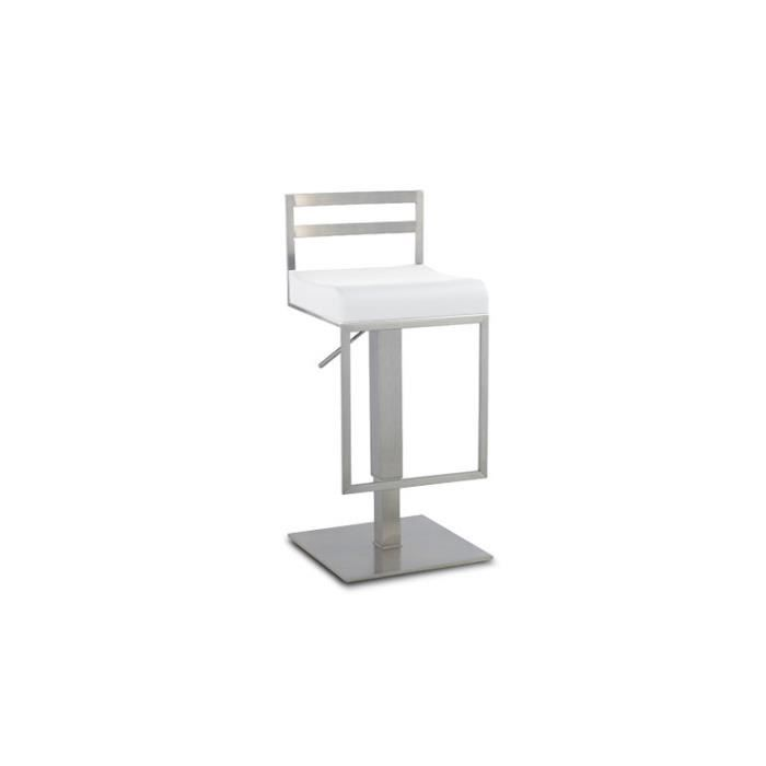 Tabouret en inox bross hauteur assise 59 83cm diego for Chaise pour table haute