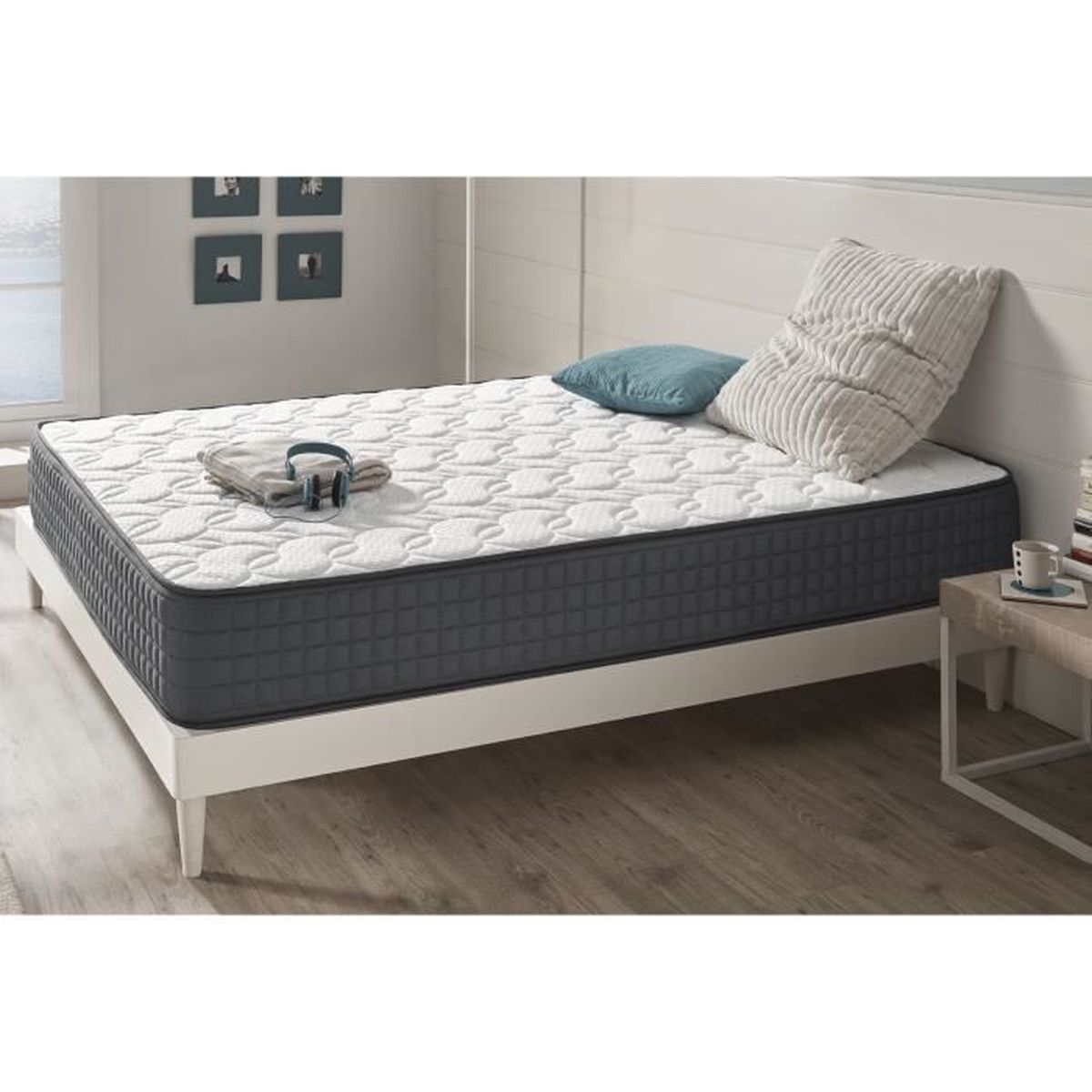 matelas maxi graphene 120x200 cm m moire de forme blue latex tissu dermophile anti stress. Black Bedroom Furniture Sets. Home Design Ideas