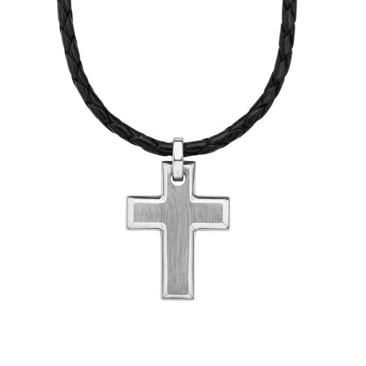 Croix Pour Homme Stainless Steel Chaine Pendentif colier Notre Père Bleu