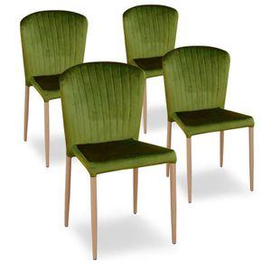 CHAISE Lot de 4 chaises en tissu velours vert ALMA