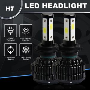 PHARES - OPTIQUES 120W 12800lm 4 côtés phares LED Kit H7 HB2 Salut -